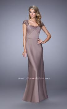 Picture of: Embroidered Sleeves Evening Dress with Belt Detail in Cocoa, Style: 21654, Main Picture