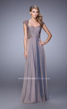 Picture of: Chiffon Dress with Criss Cross Gathered Knot Detail in Brown, Style: 21661, Main Picture