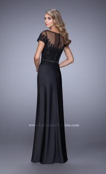 Picture of: Lace Trim Evening Dress with Sheer Back and Thin Belt, Style: 21662, Back Picture