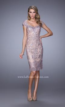Picture of: Lace Rhinestone Cocktail Dress with V Neckline and Back, Style: 21663, Main Picture