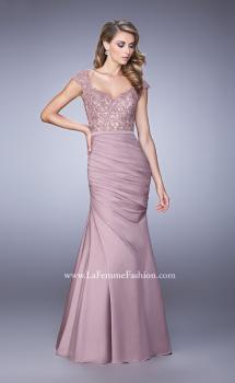 Picture of: Satin Dress with Beaded Lace Bodice and Gathering, Style: 21669, Main Picture