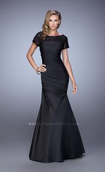 Picture of: Sheer Short Sleeve Satin Dress with Scoop Neckline in Black, Style: 21670, Main Picture