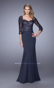 Picture of: Satin Mermaid Dress with Beading and 3/4 Sleeves in Blue, Style: 21673, Main Picture