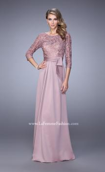 Picture of: 3/4 Sleeve Satin Evening Dress with Beaded Lace Bodice, Style: 21676, Main Picture