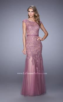 Picture of: Lace and Tulle Dress with Sheer Lace Capped Sleeves, Style: 21677, Main Picture