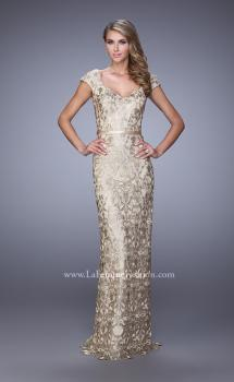 Picture of: Metallic Lace Gown with Cap Sleeves and Satin Belt, Style: 21680, Main Picture