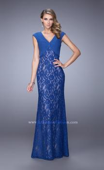 Picture of: Unique Lace Dress with Cap Sleeves and Ruching, Style: 21681, Main Picture