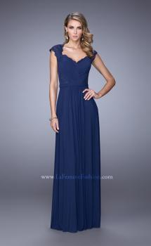 Picture of: Lace Capped Sleeve Dress with Sheer Detailing, Style: 21685, Main Picture