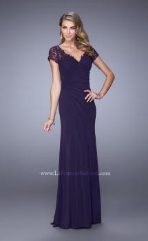 Picture of: Sheer Embroidered Short Sleeve Dress with Rhinestones, Style: 21690, Main Picture