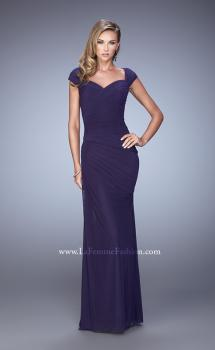 Picture of: Ruched Cap Sleeve Evening Dress with Sweetheart Neck, Style: 21694, Main Picture