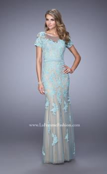 Picture of: Short Sleeve Dress with Lace Appliques and Keyhole Back, Style: 21703, Main Picture