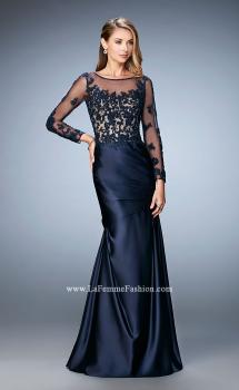 Picture of: Satin Dress with Long Sheer Net Sleeves and Beading, Style: 21708, Main Picture