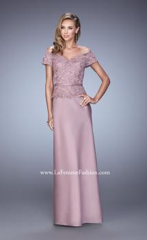 Picture of: Sultry Satin Dress with Off the Shoulder Sleeves in Pink, Style: 21726, Main Picture