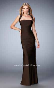 Picture of: Jersey Sheath Gown with Ruching and Scoop Neckline in Brown, Style: 21730, Main Picture