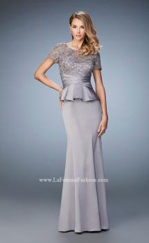 Picture of: Satin Evening Gown with Peplum Waist and Embellishments, Style: 21760, Main Picture