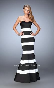 Picture of: Stretch Satin Mermaid Gown with Elegant Stripe Design, Style: 21773, Main Picture