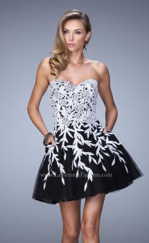 Picture of: Short Tulle Cocktail Dress with Lace Appliques in Black, Style: 21798, Main Picture