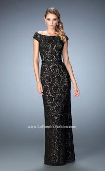 Picture of: Lace Evening Dress with Belt and Off the Shoulder Sleeves, Style: 21812, Main Picture