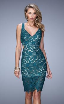 Picture of: V Neck Cocktail Dress with Cut Outs and Lace Overlay, Style: 21815, Main Picture