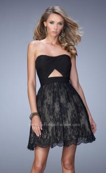 Picture of: Bold Cocktail Dress with Lace Skirt and Keyhole Back in Black, Style: 21816, Main Picture