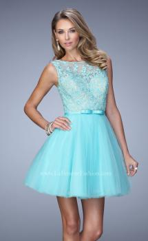 Picture of: Short Tulle Dress with High Neckline and Sheer Back in Blue, Style: 21835, Main Picture