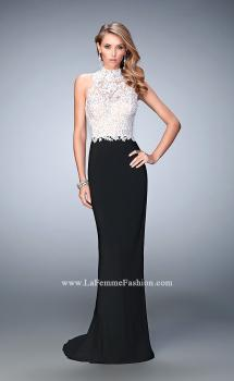 Picture of: Long Jersey Prom Dress with High Neck and Rhinestones in Black, Style: 21837, Main Picture