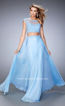 Picture of: Two Piece Chiffon Prom Dress with Lace Appliques in Blue, Style: 21862, Main Picture