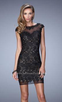 Picture of: Scoop Neck Lace Dress with Stones and Open Back in Black, Style: 21872, Main Picture