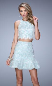 Picture of: Flared Skirt Two Piece Dress with Delicate Lace Trim, Style: 21873, Main Picture