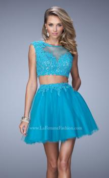 Picture of: Flirty Two Piece Dress with Sheer Overlay and Pockets in Blue, Style: 21878, Main Picture