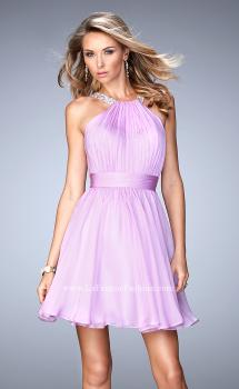 Picture of: Short Chiffon Gown with Gathering and Beaded Straps in Purple, Style: 21885, Main Picture
