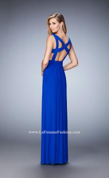 Picture of: Strappy Back Prom Dress with Cut Outs and Gathering in Blue, Style: 21889, Main Picture