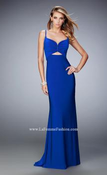 Picture of: Jersey Prom Dress with Open Back and Cut Outs in Blue, Style: 21922, Main Picture