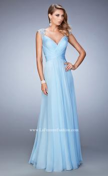 Picture of: V Neckline Chiffon Dress with Gathered Bodice and Skirt in Blue, Style: 21925, Main Picture