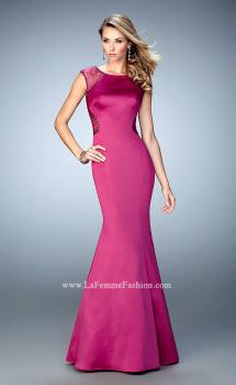 Picture of: Satin Mermaid Gown with Boat Neckline and Cut Outs in Pink, Style: 21926, Main Picture