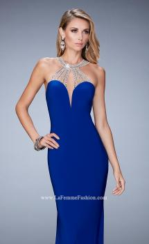 Picture of: Jersey Prom Dress with Sweetheart Neckline and Train in Blue, Style: 21929, Main Picture