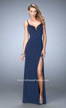 Picture of: Gathered Bodice Net Jersey Gown with Beaded Straps in Blue, Style: 21947, Main Picture