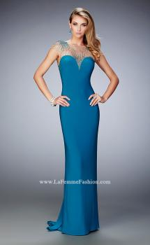 Picture of: Jersey Gown with Embellished Neckline and Train in Blue, Style: 21953, Main Picture