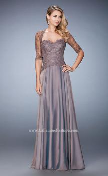 Picture of: Long Evening Gown with Full Skirt and 3/4 Length Sleeves in Brown, Style: 21957, Main Picture