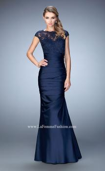 Picture of: Satin Dress with Sheer Cap Sleeves and Pleated Skirt, Style: 21961, Main Picture