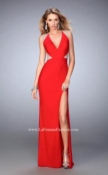 Picture of: Net Jersey Prom Dress with V Neckline and Side Slit, Style: 21963, Main Picture