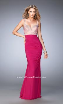Picture of: Long Mermaid Gown with Plunging Neckline and Stones in Pink, Style: 21971, Main Picture