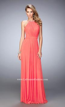 Picture of: Long Prom Dress with High Neck and Rhinestones in Orange, Style: 21974, Main Picture