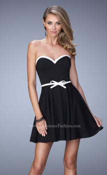 Picture of: Sweetheart Neckline Ling Prom Dress with Bow Belt in Black, Style: 21986, Main Picture