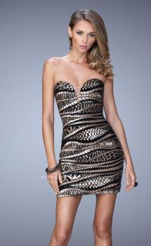 Picture of: Long Sequin Patterned Dress with Sweetheart Neckline in Black, Style: 21987, Main Picture