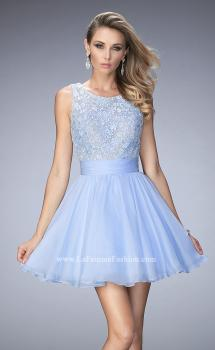 Picture of: Short Chiffon Gown with Lace Bodice and Sheer Back in Blue, Style: 21991, Main Picture