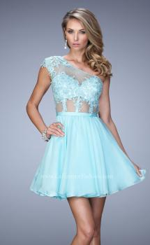 Picture of: One Shoulder Chiffon Dress with Full Skirt and Lace Trim in Blue, Style: 21992, Main Picture