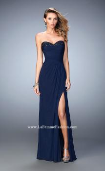 Picture of: Net Prom Gown with Gathered Bodice and Side Slit in Blue, Style: 22002, Main Picture