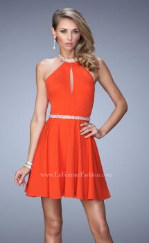 Picture of: Bold Jersey Short Dress with Halter Neckline and Stones in Orange, Style: 22016, Main Picture