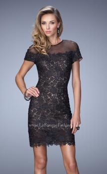 Picture of: Short Sleeve Lace Dress with Sheer Scoop Neckline, Style: 22044, Main Picture